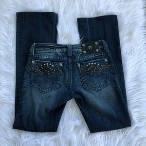 Miss Me Rhinestone Angel Wings Boot Cut Jeans 27